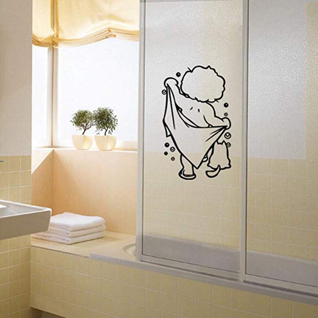 Bathroom Doors Waterproof: DIY Funny Bathroom Glass Sticker Shower Removable PVC
