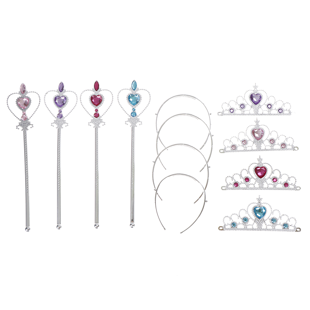 2 piece/Set Children Diamond Crowns Tiaras + Magic Wands Girls Princess Elsa Cosplay Accessories Kids Christmas Party Gift