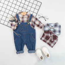 New Autumn Toddler Infant Clothes Suits Baby Girls Boys Clothing Sets Plaid Shirt Bib Pants Kids Children Costume Kids Suit цена в Москве и Питере
