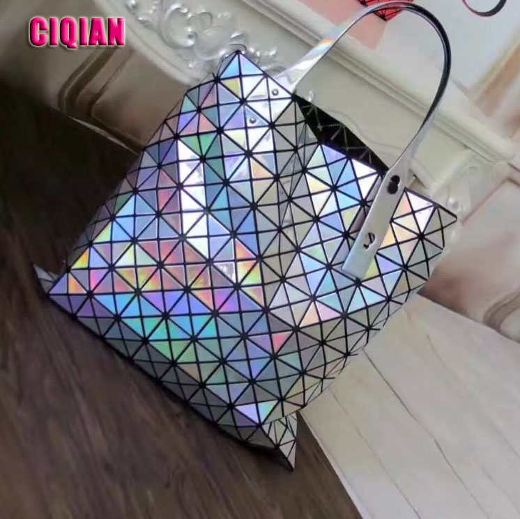 Hot Women's Hologram bag Laser Silver Geometry Handbag Geometric Folding Shoulder Bag Large Capacity Qualited Bag Free Shipping