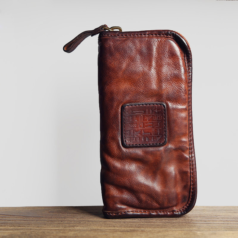 The first layer of leather men and women hand bag long section washed leather zipper hand