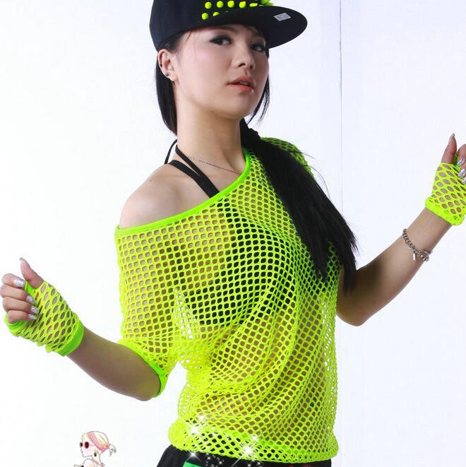 #3368 2016 Summer Neon t shirts Hip hop Women Mesh top Outwear Stage dancewear women Neon clothes Sexy Fashion Punk Harajuku image