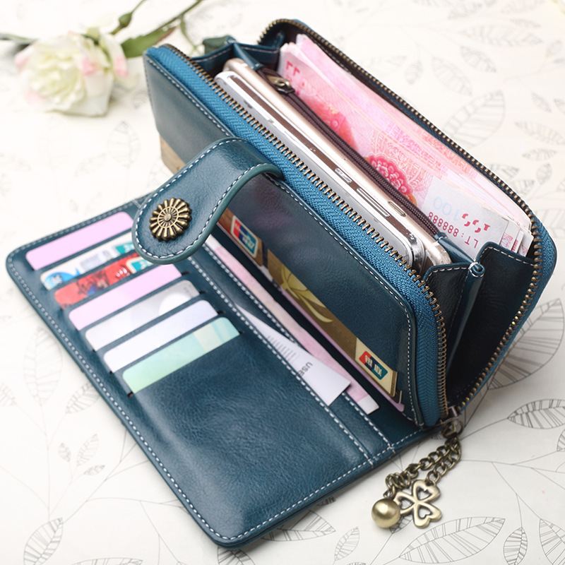 купить Women wallet genuine leather zipper hasp long Wallets Purse photo coin holder Women Clutch Purses Ladies Credit Card Holder Z32 недорого