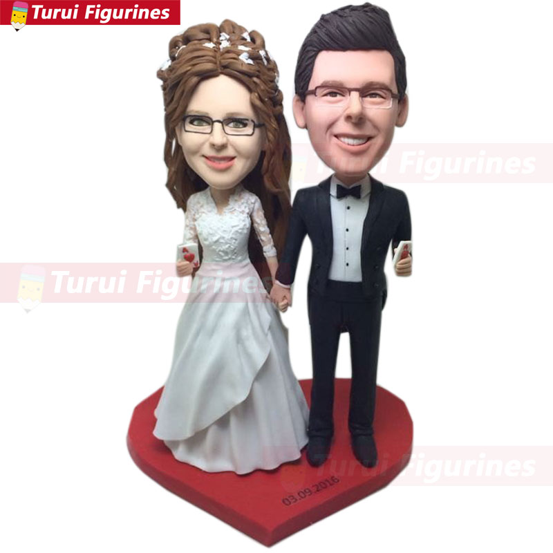 Magician Groom Custom Wedding Personalized Wedding Cake Topper Bobble Head Clay Figurines Based on Customers Photos cake topper