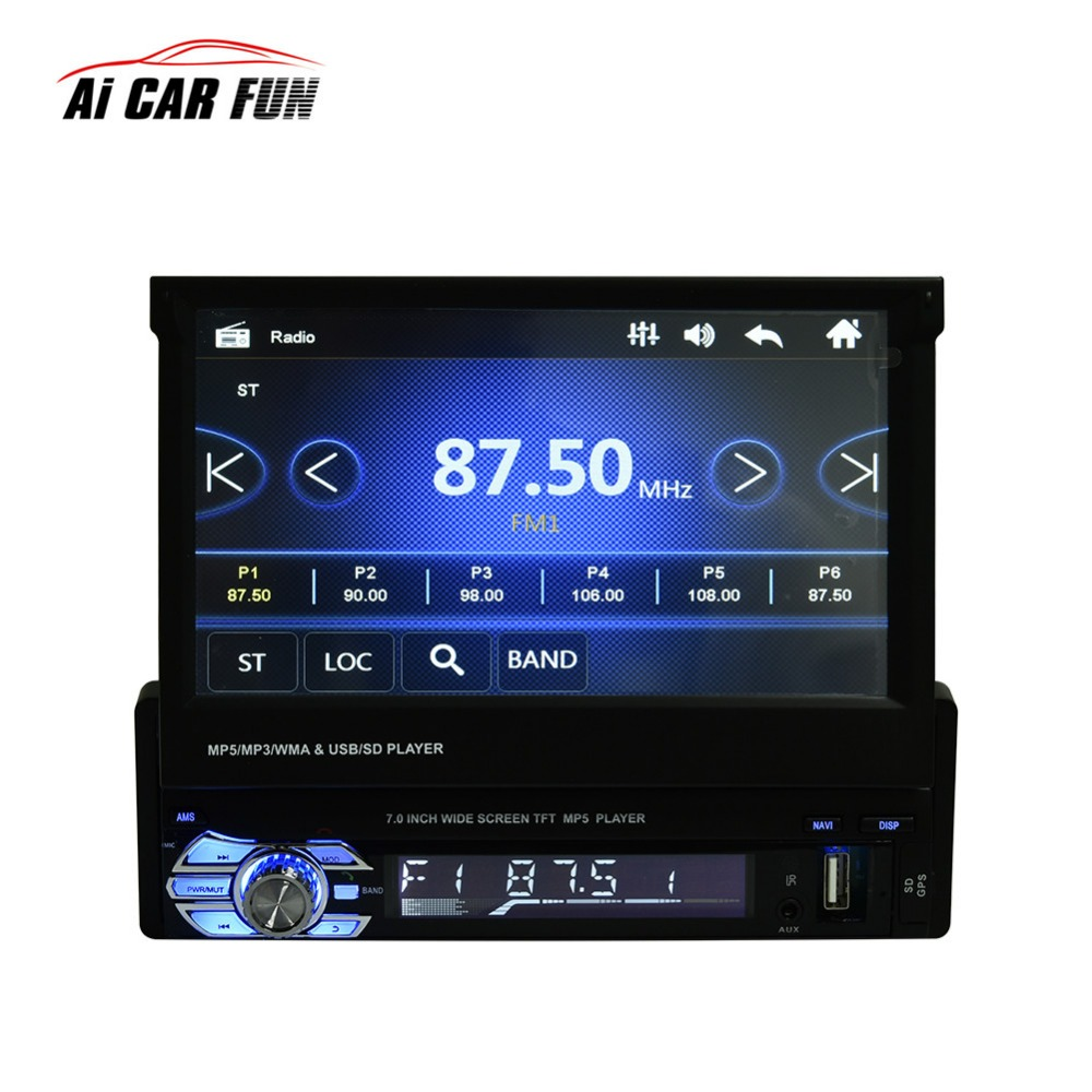 9601G 7 Inch Car Video MP5 Player 1 Din HD Touch Screen Bluetooth FM Radio European GPS Map USB Auto Multimedia Autoradio autoradio 7 inch 2 din bluetooth lcd hd touch screen car fm mp3 mp5 multimedia video radio player with wireless remote control