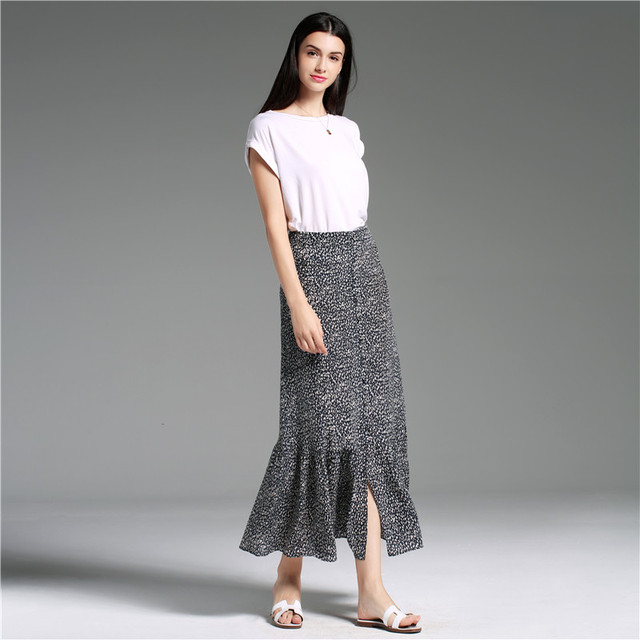 Skirts Women 100% Silk Printed Polka Dot Skirt Black White Skirt High Quality Fabric Casual Style Ladies 2019 New Fashion