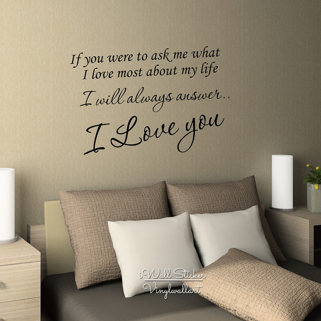 I Love You Quote Wall Sticker Love Quote Wall Decal Love ...