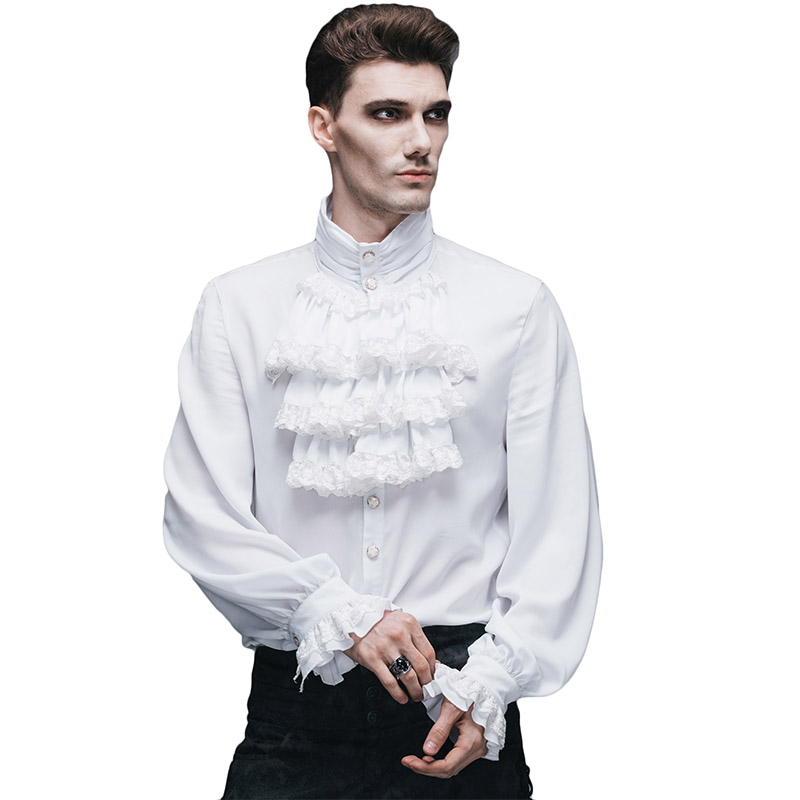 Steampunk Gothic Mens Casual White Shirts British Style ...