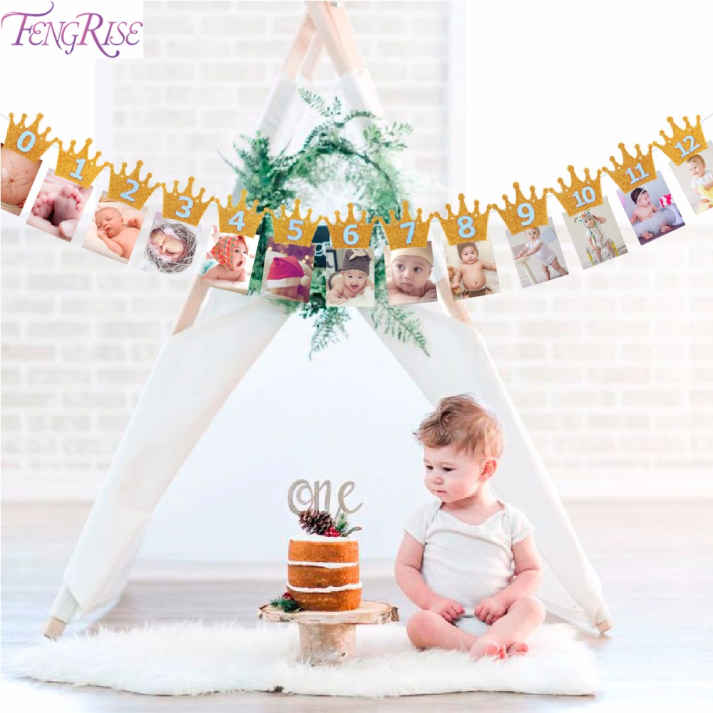 FENGRISE Newborn 1-12 Month Baby Photo Banner Baby Shower Photo Frame 1st First Birthday Party Supplies Kids Room Decoration