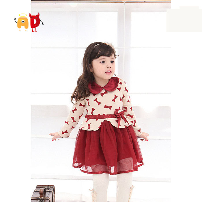 AD Lovely Chidren Dress Floral O-neck Bow Lady Style Quality Autumn Spring Little Girl Dress Baby Girls Clothing Nice Fabric ...