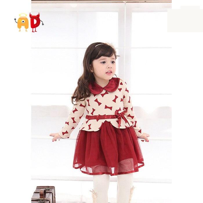 4b0d82375a Ad encantadora niños vestido floral o-cuello arco calidad del estilo de la  señora otoño primavera niña vestido Ropa femenina de bebé agradable Telas