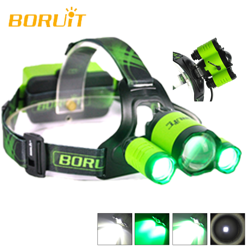 New Model Boruit B22 Cree XM-L2+2XPE Head Flashlight LED Light Lamp Green White Camping Flashlight Torch Headlamp 18650 led headlamp cree xm l2 2xpe led waterproof red light torch flashlight usb headlamp rechargeable with 18650 battery and charger