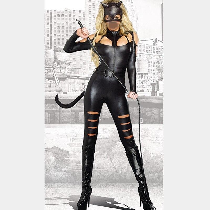 New 2016 Sexy Black Vinyl Catsuit Catwomen Costume Halloween Cat Costumes Plus Size Women Clothing Set Jumpsuits