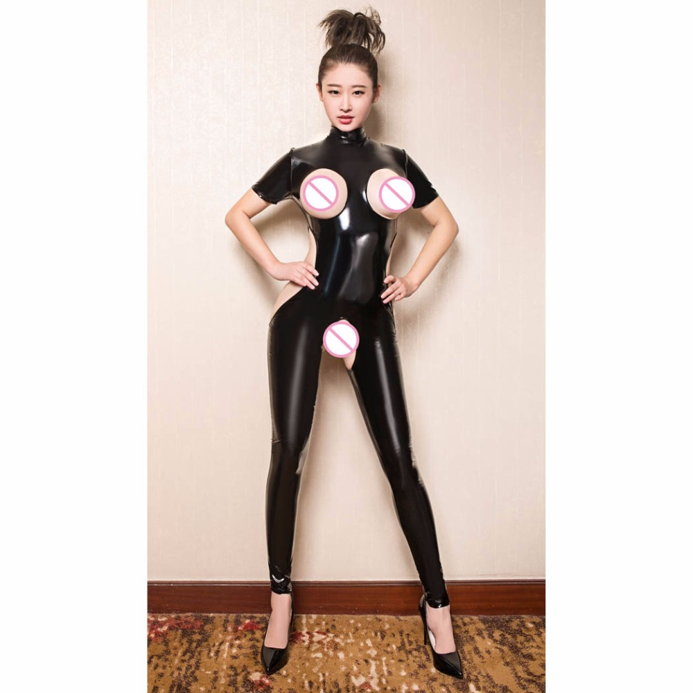 Plus Size PVC Glitter Turtleneck Rompers Womens Jumpsuit Hollow Out Bodystocking Sexy Hot Erotic Lingerie Open Crotch Bodysuit image