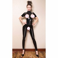 Plus Size PVC Glitter Turtleneck Rompers Womens Jumpsuit Hollow Out Bodystocking Sexy Hot Erotic Lingerie Open Crotch Bodysuit