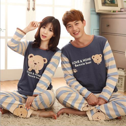 Autumn new high quality100 cotton couple pajamas suit lovers sleepwear cute cartoon bear casual pyjamas for