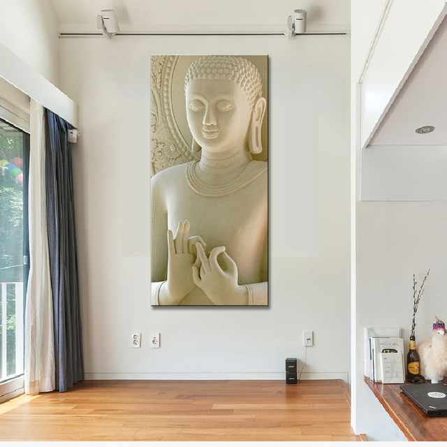 Modern 1 Pcs Buddha Painting Home Decoration White Marble Statues Wall Art Printed On Canvas