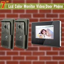 2 Cámara de 1 Monitor de 7 tft de vídeo portero automático intercom sistema de visión nocturna de intercomunicación teléfono video de la puerta sistema de entrada de vídeo intercom