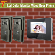 7 inch video intercom system video door phone kit visual video intercom 2-Aluminium alloy night vision waterproof Camera