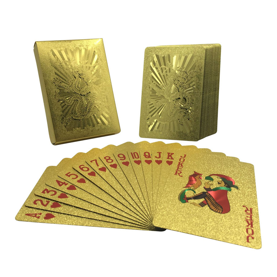 Washable 24K Golden Dragon Playing Cards PVC Waterproof 54pcs Poker Board Game Deck Durable Gold Plated Foil Poker Card Set (5)