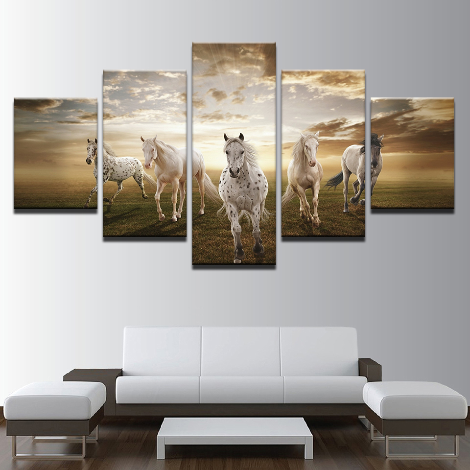 Canvas Paintings Wall Art Frame Living Room Decor 5 Pieces Running Steed Pictures Modular HD Prints Clouds Animal Horses Poster