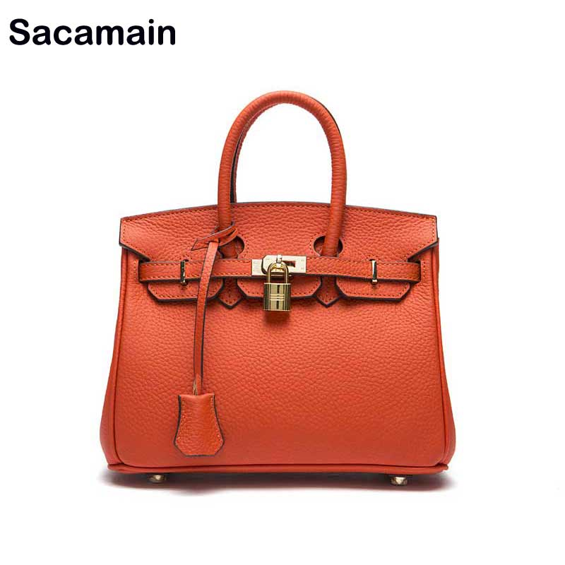 Top-handle Bags With Strap Genuine Leather Cowhide Classic Tote Bags Bolsos Mujer Women Leather Handbags Luxury Madam Hand Bag 247 classic leather