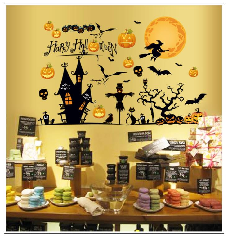creative pvc halloween wallpaper party decorations for kids home decals halloween decoration party decoration wall sticker - Creative Halloween Decorations