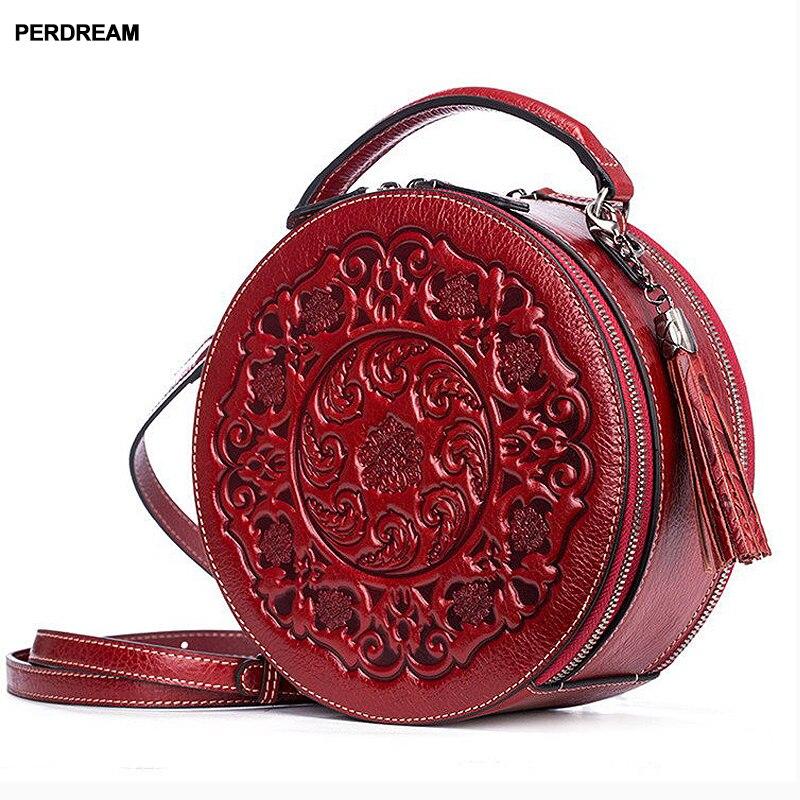 Bandolera de cuero para mujer pequeños bolsos redondos retro estilo chino Portátil Bolsa de mensajero un hombro bolso cilíndrico piel de vaca