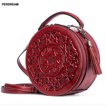 leather crossbody bag lady small round bags retro Chinese style portable Messenger bag one shoulder cylinder handbag cow skin