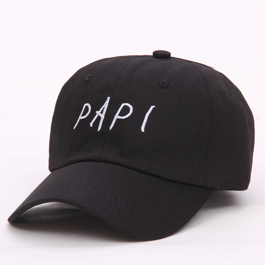 2017 fashion PAPI UNSTRUCTURED BASEBALL DAD HAT CAP NEW men women Cotton Adjustable baseball cap  - BLACK fashion rivets cotton polyester fiber men s flat top hat cap army green