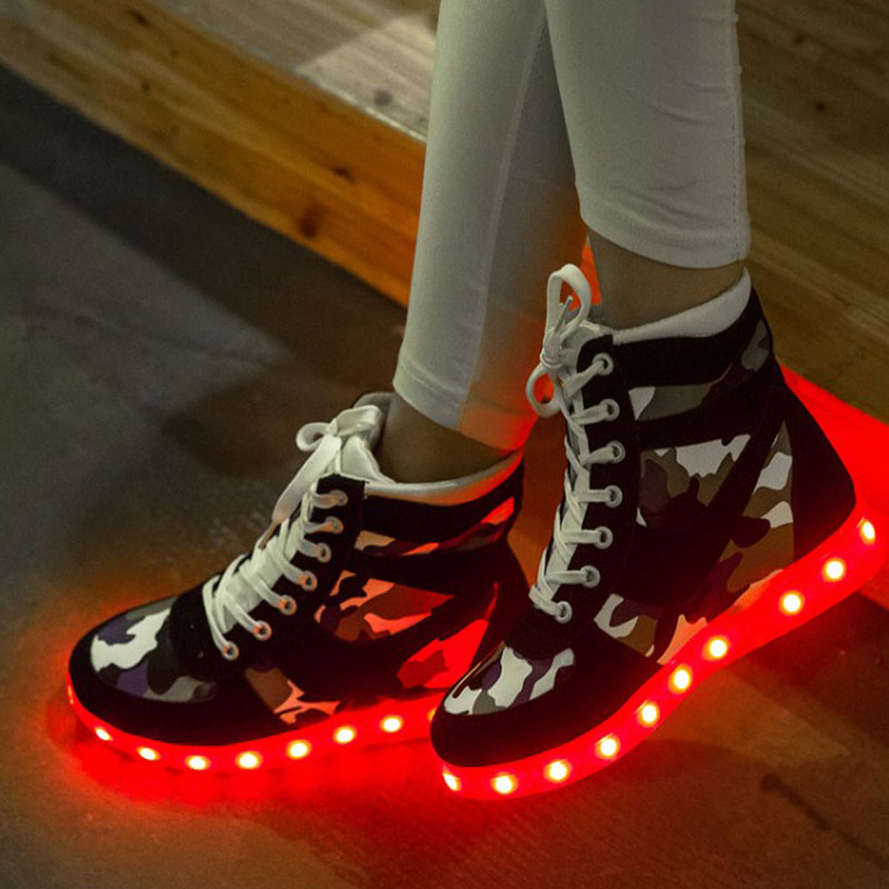 Casual Camouflage High Top Shoes Led For Adults Color Glow Light Up Shoes  Black Gray Basket Led Schuhe New 3b1decff8