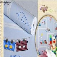 Children Room Non Woven Wallpaper Wallpaper Blue Stripes Car Environmental Health Boy Girl Study Bedroom Wallpaper