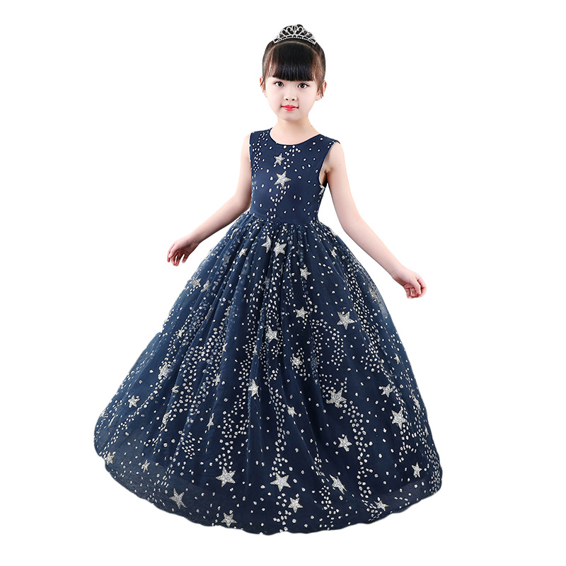Fancy Starry Sky Long Prom Dresses for Girl Princess Costume Child Evening Party Wedding Formal Dress Elegant Girls Gowns girl
