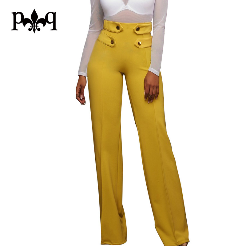 Hilove Women   Wide     Leg     Pants   Casual Office Ladies High Waist   Pant   Buttons Design Women Long   Pant   Autumn Palazzo   Pants   Femme