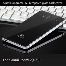 Для Xiaomi Редми 2 Телефон Случаях Роскошный Алюминиевый Металлический Каркас и Закаленное Стекло задняя крышка батареи для Xiaomi Редми 2