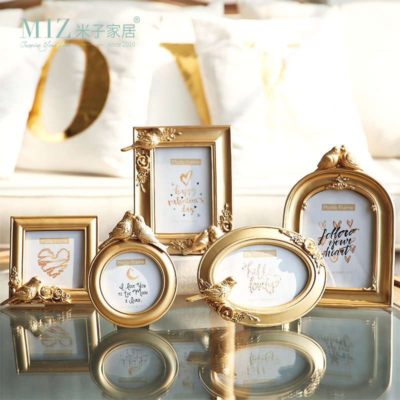 Miz Home 1 Piece Gold Photo <font><b>Frame</b></font> Round Oval <font><b>Square</b></font> Shape <font><b>Picture</b></font> <font><b>Frame</b></font> Elegant Bird Decor Royal Style Home Decoration