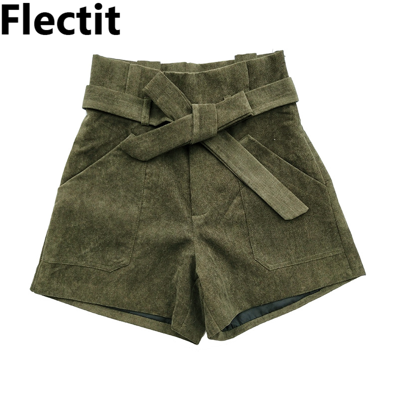 Flectit 2019 Women Corduroy Shorts With Tie Belt Pocket High Waisted Paperbag Shorts Ladies Cord Shorts Outfits