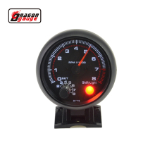 3.75inch (95.25mm) Black shell white Backlight LED Tachometer gauge 0-8000 RPM  Warning function Free shipping