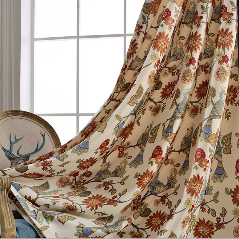 American Living Curtains Rustic Home Decor Birds Pattern Window Treatments  Printed Bedroom Drapes Single Panels (A312) In Curtains From Home U0026 Garden  On ...