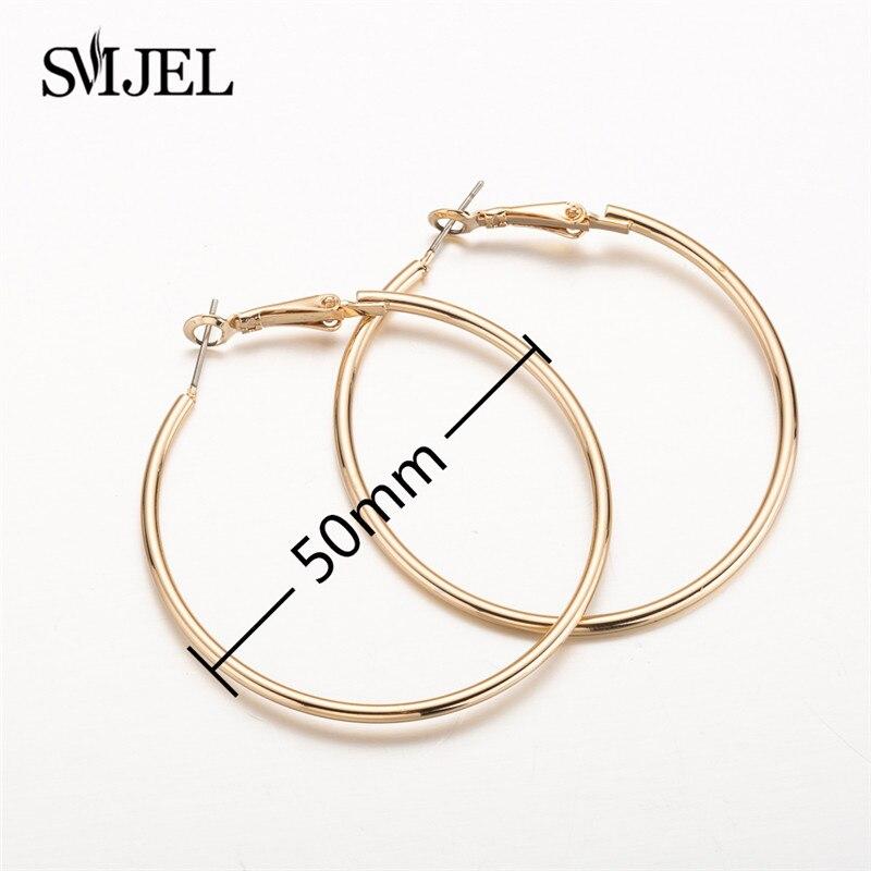 SMJEL, модные богемные ювелирные изделия из старинных серег, милые черные геометрические круглые серьги-гвоздики из нержавеющей стали, лучший подарок для женщин и девушек - Окраска металла: size 50mm