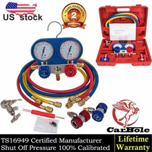Goplus A/C Manifold Gauge Set R134A Refrigeration Kit Brass Auto Serivice Kit r134a hvac a c refrigeration kit ac manifold gauge 60 hose set auto service kit diagnostic tools