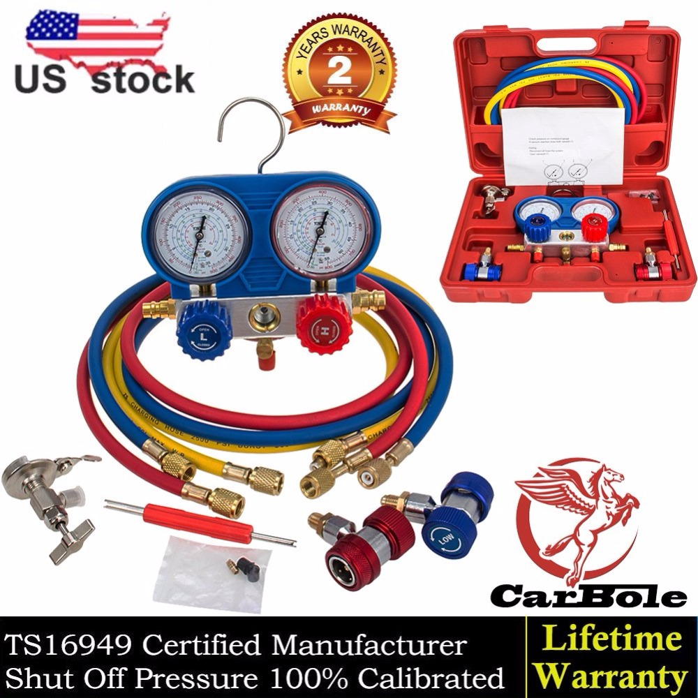 CARBOLE Goplus A/C Manifold Gauge Set R134A Refrigeration Kit Brass Auto service Kit diagnostic tool