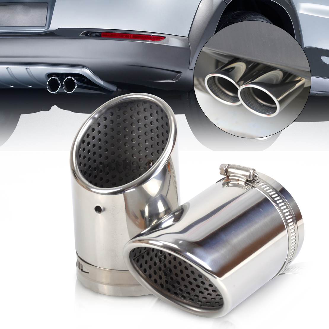 CITALL 2pcs Stainless Steel Exhaust Tail Rear Muffler Tip Pipe Tailpipe For VW Passat B6 Passat CC 2006 2007 2008 2009 2010 for vw passat b6 seden 2006 2007 2008 2009 2010 2011 led rear tail light lamp right side outer left hand trafic only