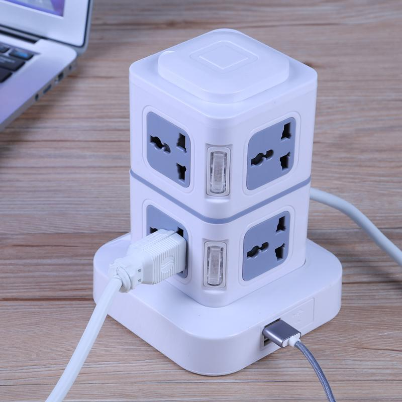 1.8m/3m EU/US Plug Multi-functional 220 V 10 A Wired Charger Extension Electrical Socket Double Layer With Dual USB Port