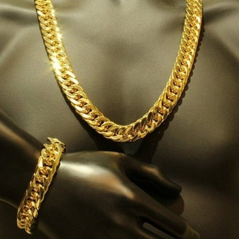 Mens Thick Tight Link 24k Yellow Gold Filled Finish Miami Cuban Link Chain and Bracelet Set