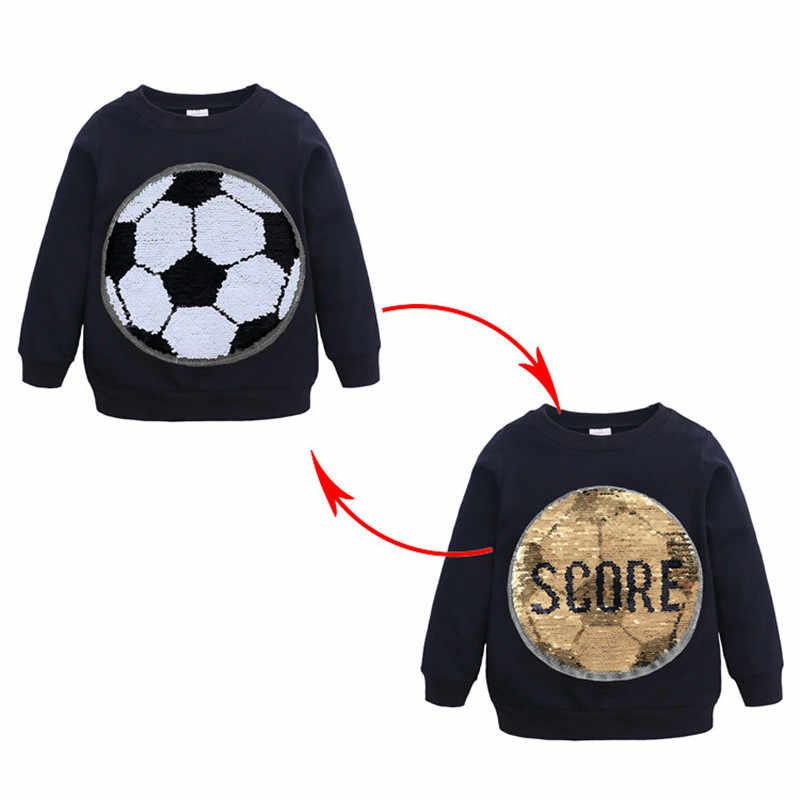 소녀 소년 스웻 셔츠 축구 변경 색상 스팽글 어린이 봄 가을 긴 소매 스웨터 키즈 티셔츠 의류 Jw-255
