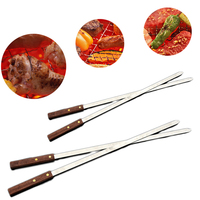 60cm Barbecue Stainless Steel Flat Meat Skewers With Wooden Handles Outdoor Barbecue Grills BBQ Forks Accessories Roasting Fork