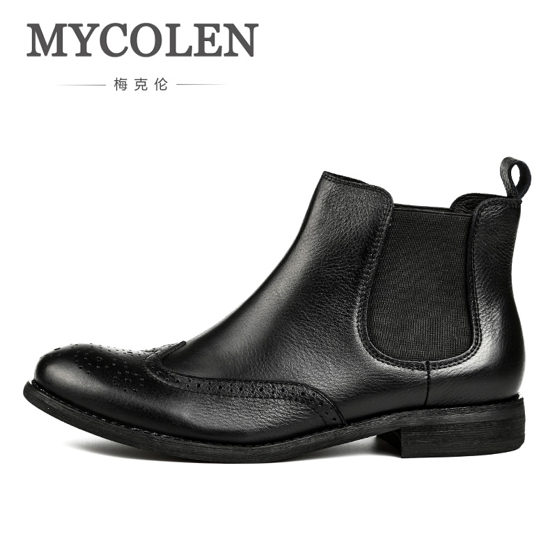 MYCOLEN New Arrival Men Ankle Boots Casual Black Boots Men Shoes Slip On High Quality Fashion Boots Autumn Men Boots Leather туника