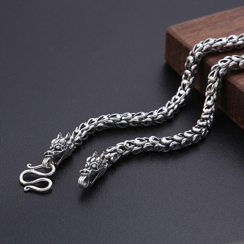 Lourd 6 MM vendu S925 Thai argent tête de Dragon colliers pour hommes Rretro 925 argent Sterling 50-65 cm chaîne colliers livraison directe - 4