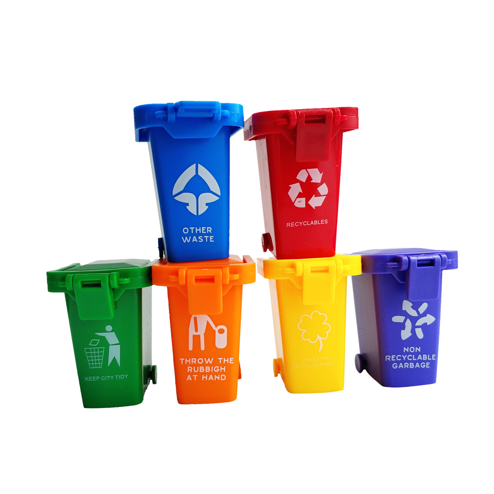 Kids Push Toy Vehicles Garbage Truck's Trash Cans Storage 6 Colors